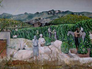 Wandmalerei am ehemaligen Schulgebäude von Patresi